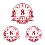 8 years anniversary design template. Anniversary vector and illustration. 8th logo. 8 years anniversary design template. Eight years celebrating vector and royalty free illustration