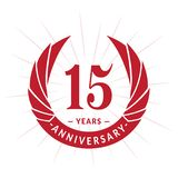 15 years anniversary design template. Elegant anniversary logo design. Fifteen years logo. 15 years anniversary celebration design template. 15 years vector illustration
