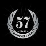 57 years anniversary design template. Elegant anniversary logo design. Fifty-seven years logo. vector illustration