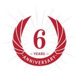 6 years anniversary design template. Elegant anniversary logo design. Six years logo. royalty free illustration