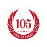 105 years anniversary design template. Elegant anniversary logo design. 105 years logo. 105 years anniversary celebration design template. 105 years celebrating royalty free illustration