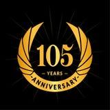 105 years anniversary design template. Elegant anniversary logo design. 105 years logo. 105 years anniversary celebration design template. 105 years celebrating stock illustration