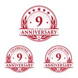 9 years anniversary design template. Anniversary vector and illustration. 9th logo. 9 years anniversary design template. Nine years celebrating vector and royalty free illustration