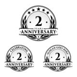 2 years anniversary design template. Anniversary vector and illustration. 2nd logo. 2 years anniversary design template. Two years celebrating vector and vector illustration