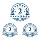 2 years anniversary design template. Anniversary vector and illustration. 2nd logo. 2 years anniversary design template. Two years celebrating vector and stock illustration