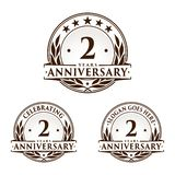 2 years anniversary design template. Anniversary vector and illustration. 2nd logo. 2 years anniversary design template. Two years celebrating vector and royalty free illustration