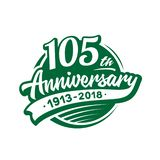 105 years anniversary design template. Vector and illustration. 105th logo. 105 years anniversary design template. 105 years vector and illustration. 105th logo stock illustration