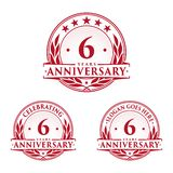 6 years anniversary design template. Anniversary vector and illustration. 6th logo. 6 years anniversary design template. Six years celebrating vector and vector illustration