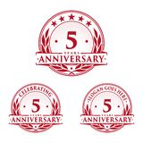 5 years anniversary design template. Anniversary vector and illustration. 5th logo. 5 years anniversary design template. 5 years celebrating vector and royalty free illustration