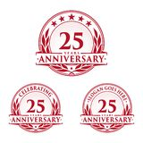 25 years anniversary design template. Anniversary vector and illustration. 25th logo. 25 years anniversary design template. 25 years celebrating vector and royalty free illustration