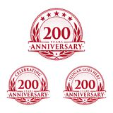 200 years anniversary design template. Anniversary vector and illustration. 200th logo. 200 years anniversary design template. 200 years celebrating vector and royalty free illustration
