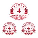 4 years anniversary design template. Anniversary vector and illustration. 4th logo. 4 years anniversary design template. 4 years celebrating vector and vector illustration