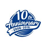 10 years anniversary design template. Vector and illustration. 10th logo. stock illustration