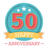 50 Years Anniversary Emblem. With ribbon, stars and laurel wreath Stock Photography