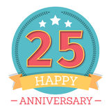 25 Years Anniversary Emblem. With ribbon, stars and laurel wreath Royalty Free Stock Photos