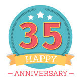 35 Years Anniversary Emblem. With ribbon, stars and laurel wreath Stock Photos