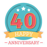 40 Years Anniversary Emblem. With ribbon, stars and laurel wreath vector illustration