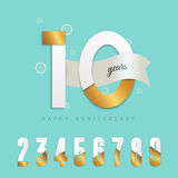 10 years anniversary emblem. Set of numbers Royalty Free Stock Images