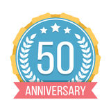 50 Years Anniversary Emblem. On white background Royalty Free Stock Photography