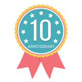 10 Years Anniversary Emblem Royalty Free Stock Photos