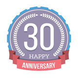 30 Years Anniversary Emblem. On white background Royalty Free Stock Photo