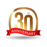 30 years anniversary experience gold label with blue ribbon, vector illustration.  Royalty Free Stock Images