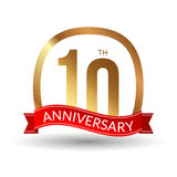 10 years anniversary experience gold label with blue ribbon, vector illustration.  stock illustration