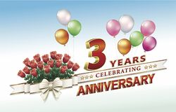 3 years anniversary with flowers and balloons. 3 years anniversary with bouquet of roses and balloons decorated  ribbon and bow Royalty Free Stock Photography