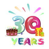 30 Years Anniversary with gift and cake. Vector illustration Royalty Free Stock Images