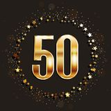 50 years anniversary gold banner on dark background. Vector Stock Photography