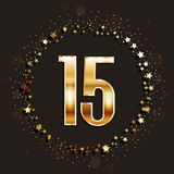 15 years anniversary gold banner on dark background. Vector illustration Stock Photo