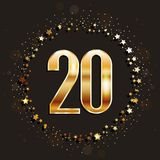20 years anniversary gold banner on dark background. Vector illustration Royalty Free Stock Photo