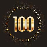100 years anniversary gold banner on dark background. Vector illustration royalty free illustration