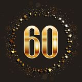 60 years anniversary gold banner on dark background. Vector illustration royalty free illustration