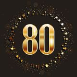 80 years anniversary gold banner on dark background. Vector illustration Stock Photography