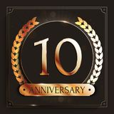 10 years anniversary gold banner on dark background. Vector illustration Royalty Free Stock Photo
