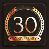30 years anniversary gold banner on dark background. Vector illustration Royalty Free Stock Photos