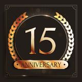 15 years anniversary gold banner on dark background. Vector illustration Stock Photography