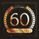 60 years anniversary gold banner on dark background. Vector illustration vector illustration