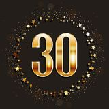 30 years anniversary gold banner on dark background. Vector illustration Stock Photo