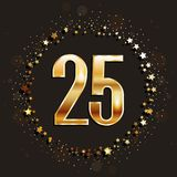25 years anniversary gold banner on dark background. Vector illustration Royalty Free Stock Image