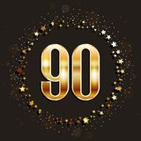 90 years anniversary gold banner on dark background. Vector illustration vector illustration