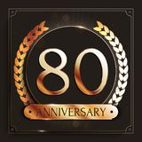 80 years anniversary gold banner on dark background. Vector illustration Stock Photos