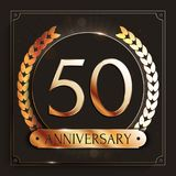 50 years anniversary gold banner on dark background. Vector illustration Stock Photo