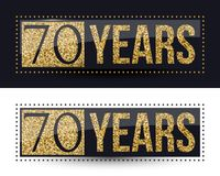 70 years anniversary gold banner on dark and white backgrounds. Vector illustration vector illustration