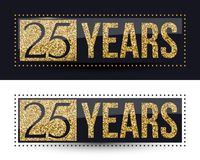25 years anniversary gold banner on dark and white backgrounds. Vector illustration Royalty Free Stock Photos