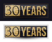 30 years anniversary gold banner on dark and white backgrounds. Vector illustration Stock Images