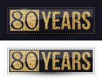 80 years anniversary gold banner on dark and white backgrounds. Vector illustration Royalty Free Stock Photography
