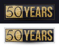 50 years anniversary gold banner on dark and white backgrounds. Vector illustration Stock Photography