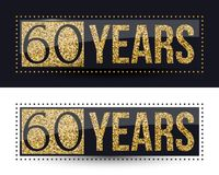 60 years anniversary gold banner on dark and white backgrounds. Vector illustration royalty free illustration